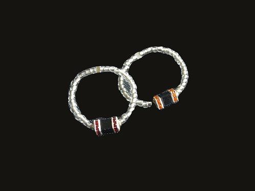 Glass Bead and Swarovski® Crystals Ring Set