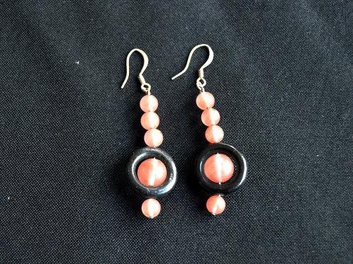 Rose Quartz and Wood Earrings