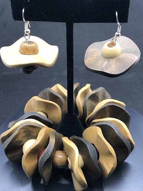 Wavy Wood Bracelet and Earrings Set