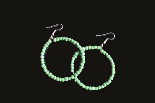 Green Glass Bead Hoop Earrings