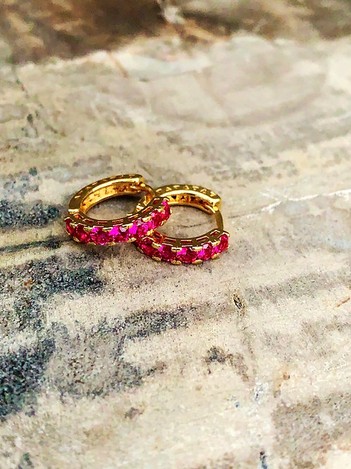 Tiny Pink Diamond Hoops