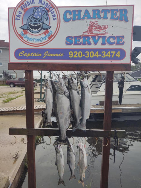 Ladies only charter for Salmon on Lake Michigan guided by Fishin' Magician Charter Service
