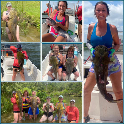 Cat fish noodling trip in OK and TX  Michelle Caldwell-smith Mercedez Scott