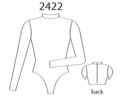 MW2422 Long Sleeve Mock-T Zip Back Leotard