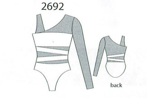 MW2692 One Sleeve Mesh Inset Leotard