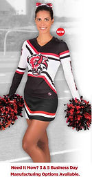 Classic look, stretch fit. Custom sublimation cheer uniforms made FAST! 3, 5 and 10 day manufacturing options.