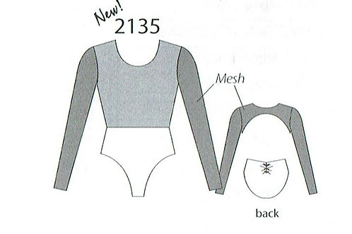 MW2135 Open Back Front Overlay Long Sleeve Leotard