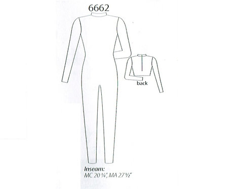 MW6662 Long Sleeve, Mock-T, Zip Back Unitard