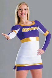 Classic look cheer uniforms with a stretch fit for comfort and mobility.