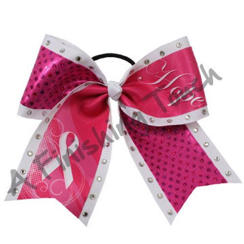 BC907- Hope Breast Cancer Bow w/ Rhinestones