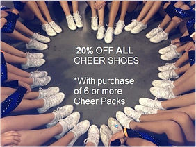 Receive 20% off all cheer shoes when ordering 6or more cheer packs. One code per order. Mention Code: discount_cheer2017