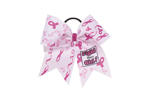 "Pizzazz BC250 Awareness Bow ""Fight Like A Girl"""