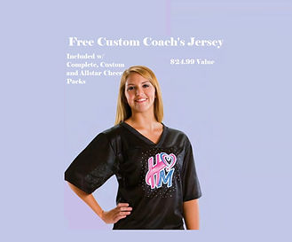 Free Custom Cheer Coach's Jersey is included with complete custom and all star cheer packs. $24.99 Value