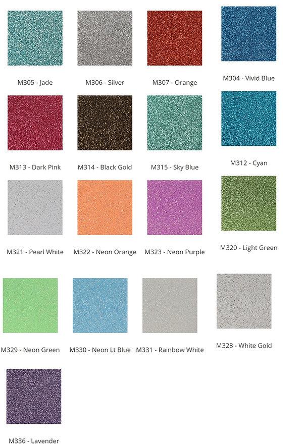 Custom Cheer Bow Heat Press Options. Glitter Selection Cont.
