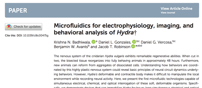 Microfluidics for Hydra accepted to Lab on a Chip