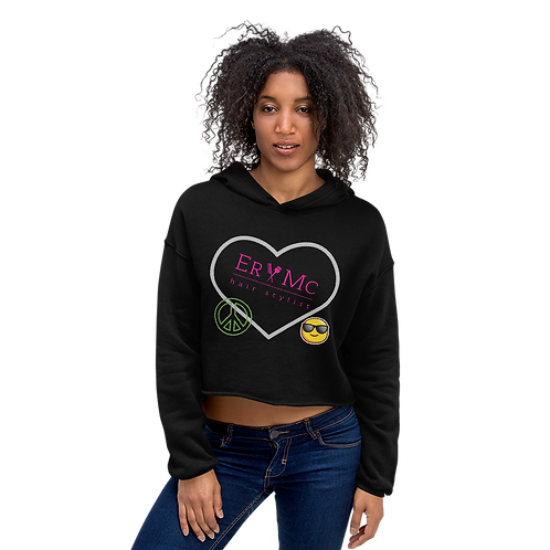 Women's Cropped Hoodie | Bella + Canvas- Peace. Love. Happiness