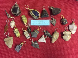 gemstone and arrowhead pendants