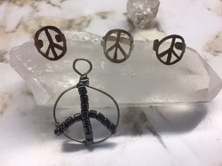 peacesign rings and pendants