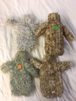 hand knitted squatch bottle coosies