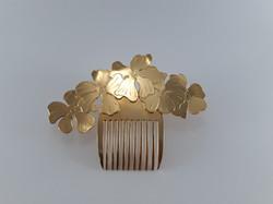 Peigne Hibiscus laiton doré