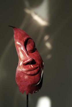 Sculpture Face cuivre patiné