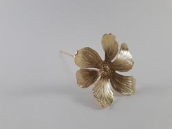 Fleur décorative Hibiscus laiton doré