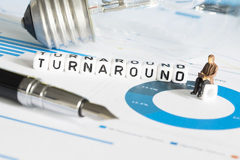 Business change or turnaround concept to