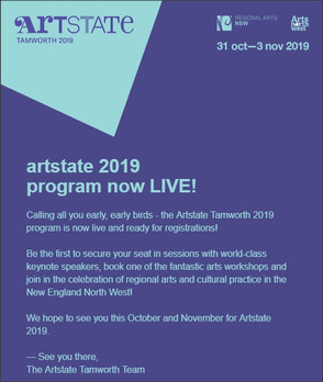 Artstate Tamworth 2019 program is now live and ready for registrations!