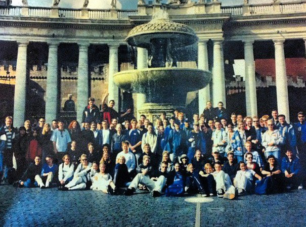 Lord Beaverbrook High School, Grade 12 Europe Trip.  That's me, front row, far right, white shirt and khaki pants.