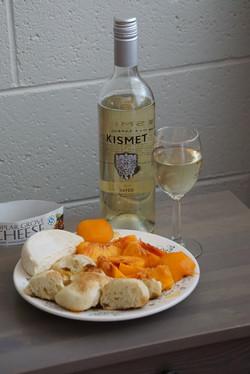 Wine Peaches Cheese & Bread :)