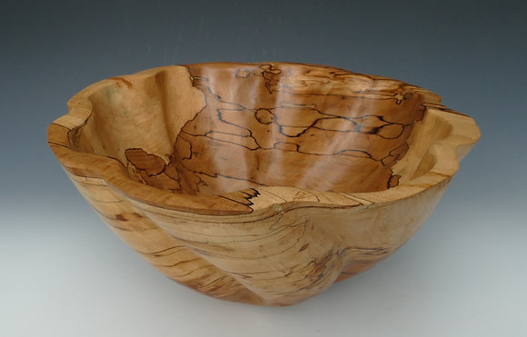 "Fluted Spalted Beech Bowl. 14"" x 8"""