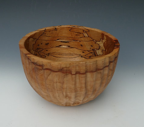 "Spalted Beech Fluted Bowl. 8"" x 6"""