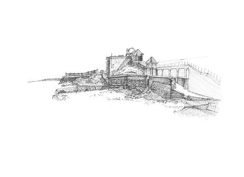 Dun Laoghaire baths fine art print giclee quality. pen sketch. drawing by irish artist