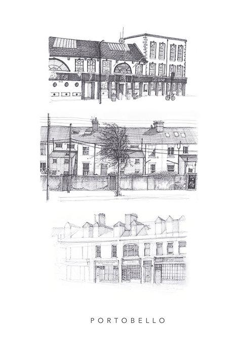 portobello buildings fine art giclee print. irish art. dublin print