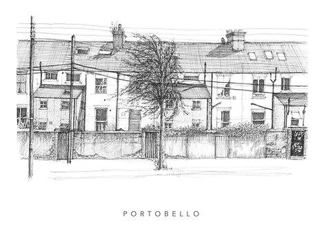 Grand canal sketch fine art giclee print. irish art. dublin print. handmade, sketchbook