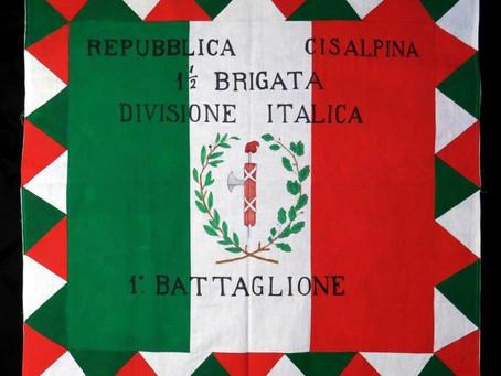 Bandiera (diritto) a campi verticali della prima mezza brigata Divisione Italica, 1800-1801