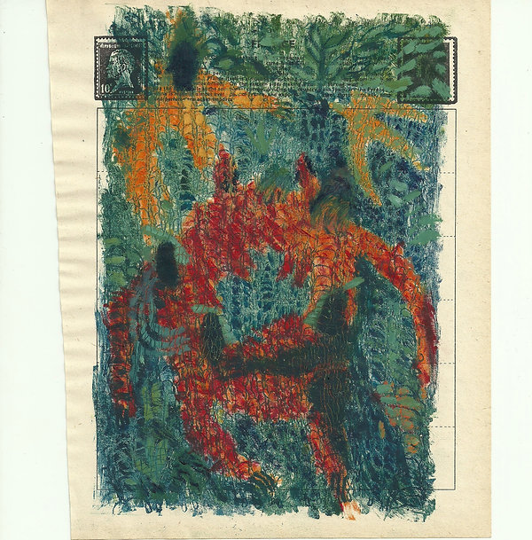Touch? or Stamping?, oil monoprint on fo