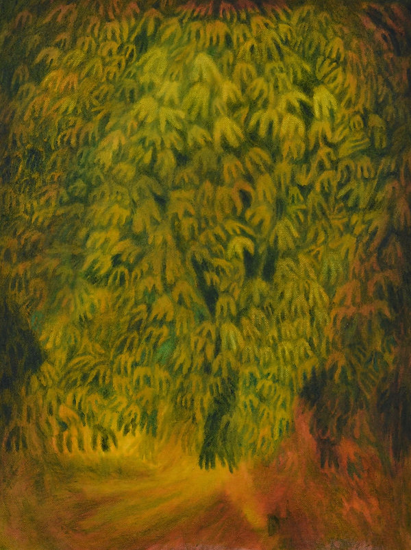 Talking to Trees, Oil on Cotton, 14cm x