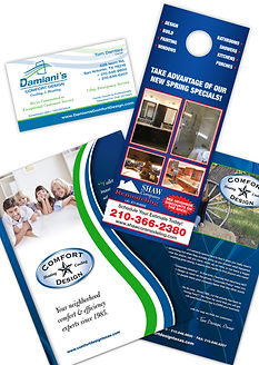 business card, door hangers, pocket folder