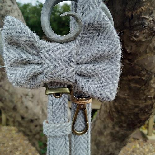 Bow Tie Herringbone Silver Grey