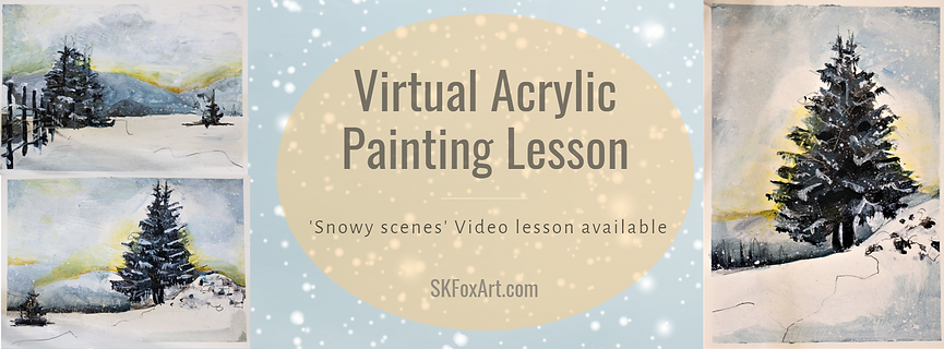 SKFoxart snowy scenes painting lesson.pn