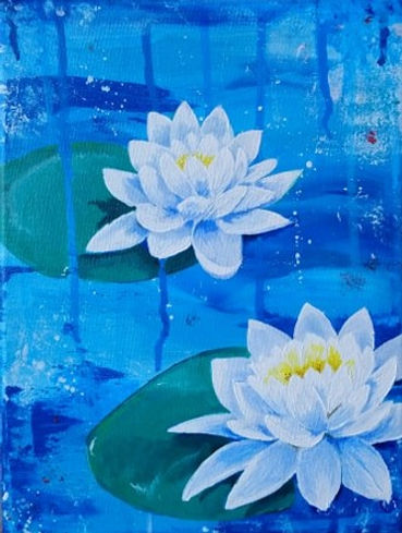 SKFoxArt_1. student water Lily painting.