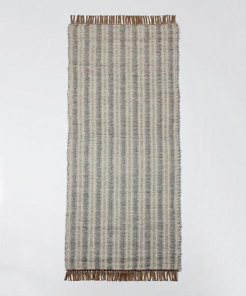 Ribbed Striped Mohair Runner - Chalk & Light Grey