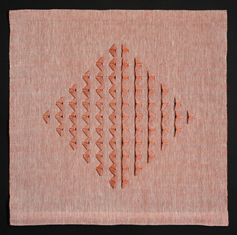 "Twill Diamond Positive, 2015, linen, 24"" x 24"""