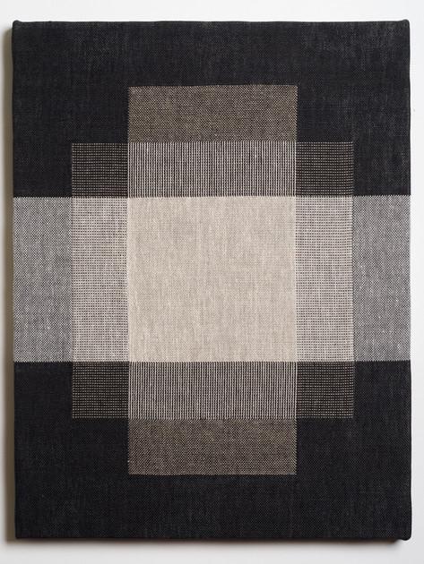 """Untitled (Overlap:Black White), 2018, linen, 21.5"""" x 16.5"""""""