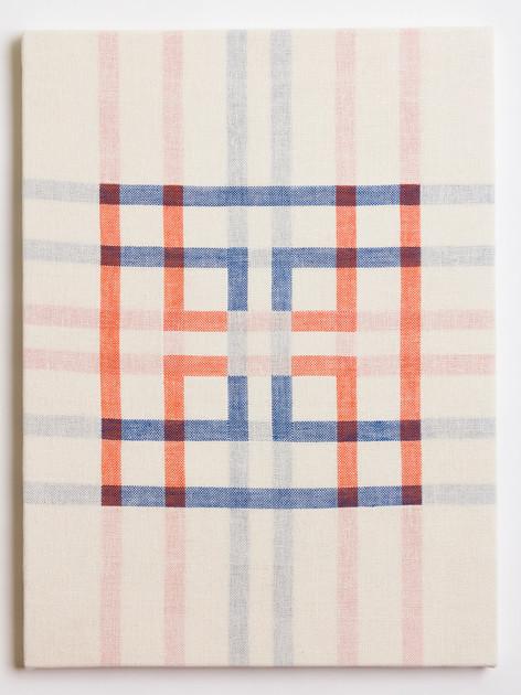 "Untitled (White Orange/Blue), 2018, linen, 23"" x 17"""
