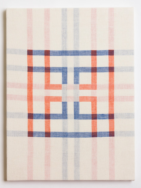 "Untitled (White Orange/Blue), 2018, linen, 23"" x 17"""