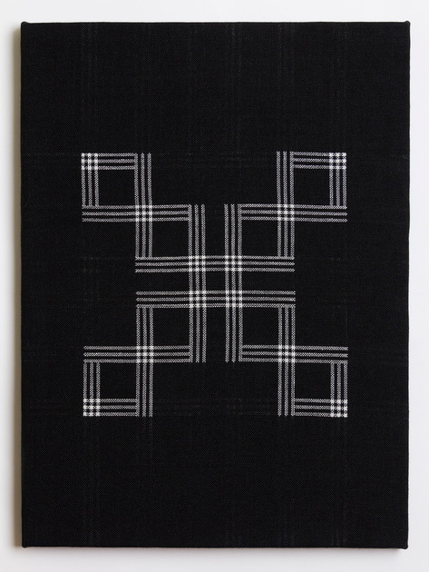"Untitled (Black X), 2018, linen, 23"" x 17"""
