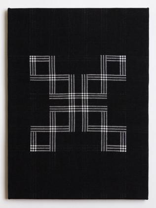 "Untitled (Black X), 2018, linen, 23"" x 17"""
