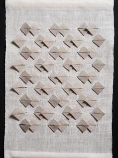 "Crane Wife #4, 2013, linen, 21"" x 14"""